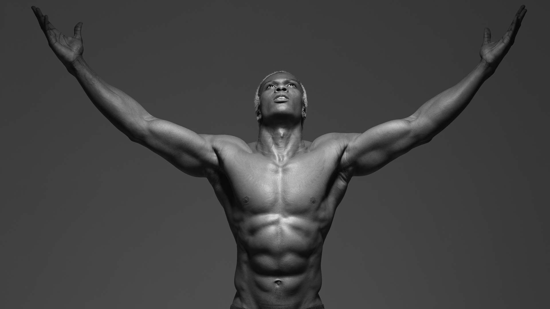 frederic mercier fashion photographer one color editorial portraits people art black and white muscle body athlete crossfit fitness boxing
