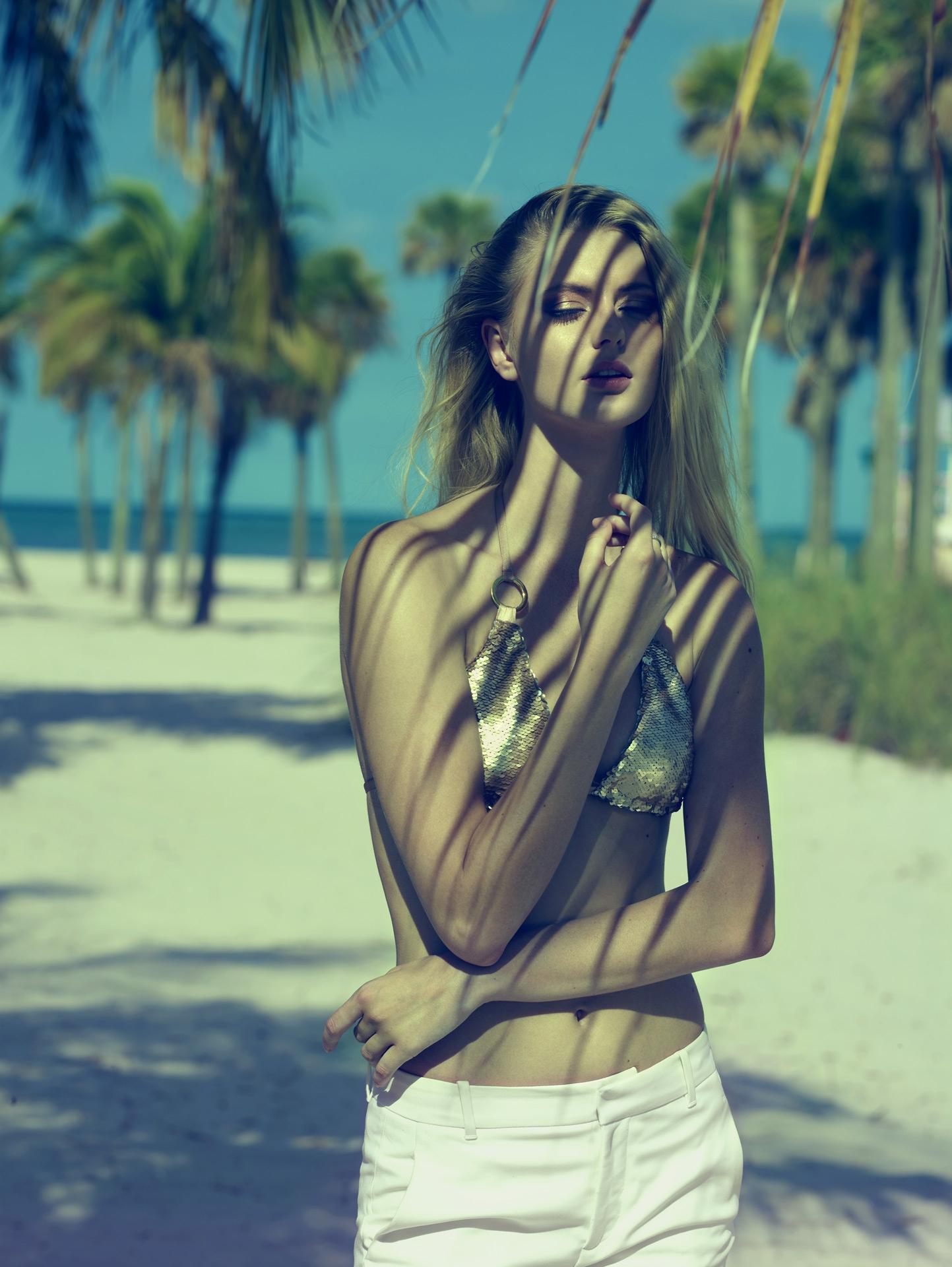 beach bunny siren song swimwear underwear miami beach palm tree lifestyle editorial frederic mercier fashion photographer one color