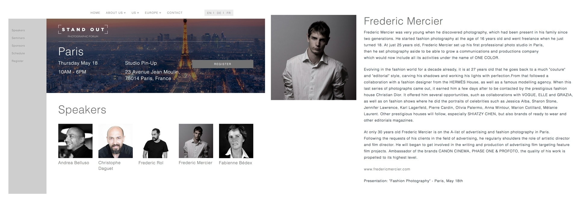 frederic mercier fashion photographer one color press exposition photography expo art stand out phase one profoto paris